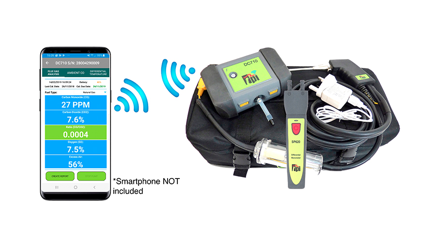 image of TPI DC710C2 Smart Flue Gas Analyser - DC710 + Flue Probe, USB Charger, Carry Case & SP620 Smart Manometer